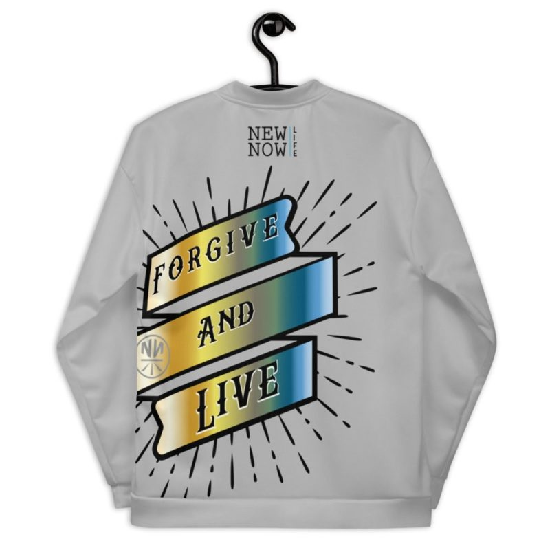 Forgive and Live Reborn Chrome Unisex Bomber Jacket