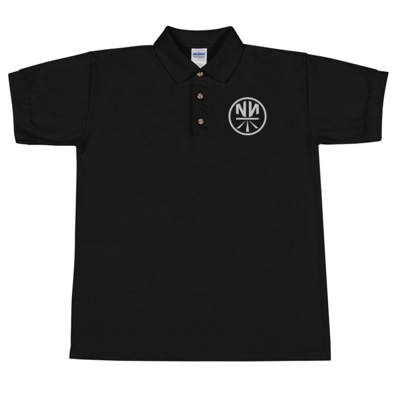 New Now Logo Circled Dark Embroidered Polo Shirt