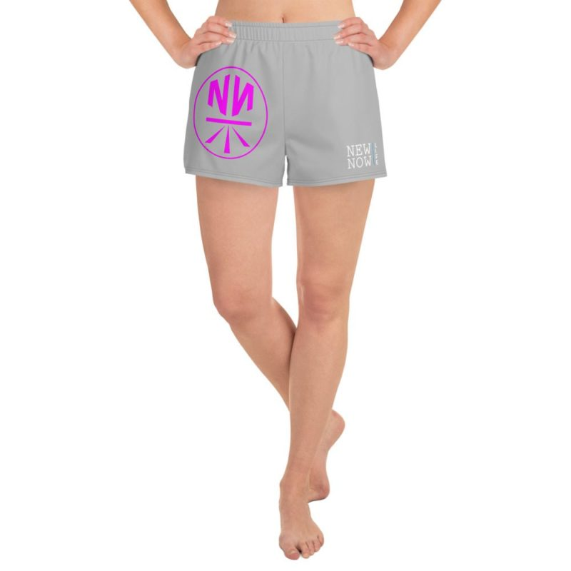 New Now Logo Pink Circled Women's Athletic Short Shorts
